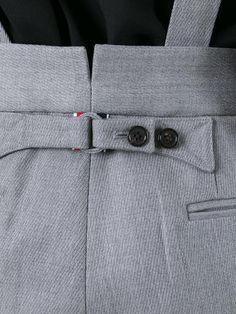 Designer Short Pants & Women's Ankle Pants - - Designer Short Pants & Women's Ankle Pants Suspenders for Women Light grey pants with suspenders Tailoring Techniques, Techniques Couture, Sewing Techniques, Essentiels Mode, Fashion Pants, Mens Fashion, Sewing Pants, Suspender Pants, Men Trousers