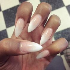 Stilleto nude white make up nails