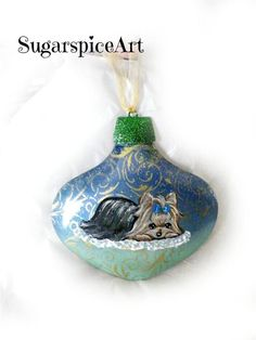 Yorkie Blue Christmas Metal Unbreakable Ornament Decoration by SugarspiceArt