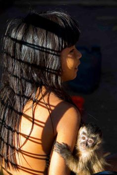 Xingu girl with her protector friend :)