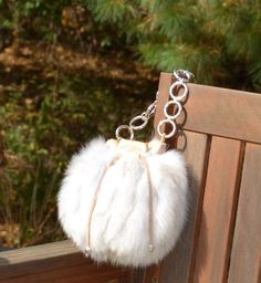 Hey, I found this really awesome Etsy listing at https://www.etsy.com/listing/164777550/winter-white-fox-fur-bubble-purse-fluffy