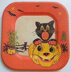 Vintage Halloween Paper Luncheon Plate Black Cat/Jack O'Lantern 1940's