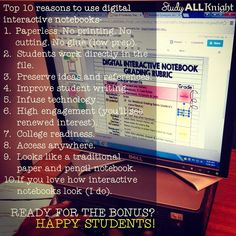 Top ten reasons to use digital notebooks. Paperless. Students work directly in the file. Preserve ideas and references. Improve students writing. Infuse technology. High engagement (you'll see renewed interest). College readiness. Access anywhere. If you love how traditional interactive notebooks look (I do). Happy students. And More!