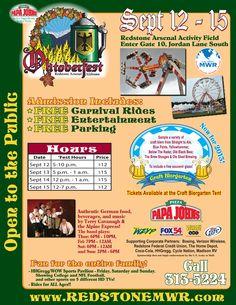 Redstone Arsenal MWR Oktoberfest  OPEN TO THE PUBLIC!    Huntsville, Alabama