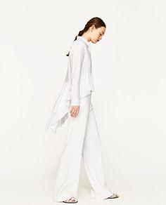 White Frilled Shirt   Zara