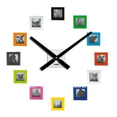 colorido marco de fotos reloj de pared