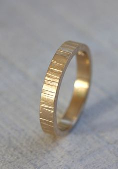 14k Yellow Gold Men's tree bark band ring from Praxis Jewelry
