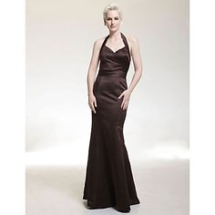 Trumpet/ Mermaid Halter Floor-length Satin Bridesmaid/ Wedding Party Dress – USD $ 99.99