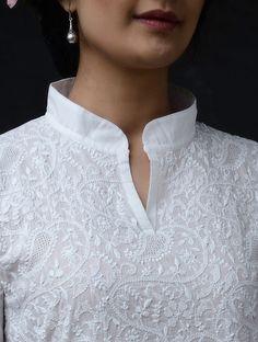 Best 11 White Chikankari Cotton Kurta by Jaypore Salwar Neck Designs, Kurta Neck Design, Neck Designs For Suits, Kurta Designs Women, Dress Neck Designs, Blouse Designs, Simple Kurta Designs, Kurti Embroidery Design, Indian Designer Suits