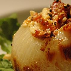 Grilled Blue Cheese & Bacon Stuffed Onions.. This combination of flavors is amazing! I didn't have a melon huller thing or a grill, so I sliced my onion, mixed the ingredients and covered with foil in the oven at 450.. I really liked it and topped some baked chicken with it; will definitely make this again!