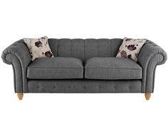 Chesterton Large Sofa Chesterfield in Riding Fabric - Charcoal