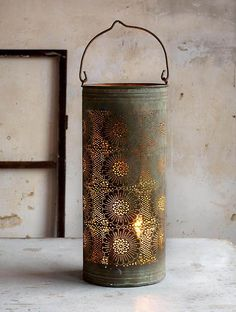 Beautiful old punched tin to cover a candle and allow it to glow through the holes Wedding Lanterns, Candle Lanterns, Lanterns Decor, Primitive Lighting, Primitive Candles, Rustic Lighting, Yoga Studio Design, Deco Nature, Lights