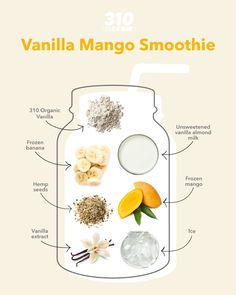 Brighten up your day with a naturally-sweet and deliciously-fruity drink with this Vanilla Mango Smoothie, for a quick and satisfying treat! Every sip is packed with juicy flavor and tastes just like a creamy and indulgent vanilla milkshake. Mango Smoothie Recipes, Yummy Smoothies, Drink Recipes, Whole Food Recipes, Fruity Drinks, Yummy Drinks, Healthy Drinks, Healthy Recipes, Milkshake Flavours