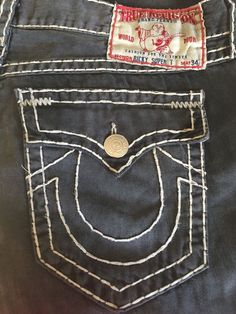 True Religion Ricky Super T Men's Jeans Size 38 Seat 34 100% Cotton Made in USA #TrueReligion #Relaxed #TrueReligionJean #Ricky #SuperT #MensJeans #Size38 #Seat34 #Mens #Jeans #BlackJeans