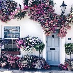 Amazing floral decoration for home exterior Exterior Design, Interior And Exterior, Beautiful Flowers, Beautiful Places, Prettiest Flowers, Belle Photo, Planting Flowers, Flowers Garden, Home And Garden