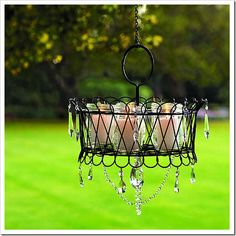-Make your own chandelier using a wire basket. Hang using chain and fill with candle filled mason jars. For added style, add a few crystals.