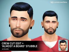 """Crew cut edit + """"Almost a beard"""" stubbleI'm tired.. take these CC(s?) if you wish, fellow Simmer! Download Edit: Completely forgot to credit the anon whorequestedthe stubble! Thank you, whoever you are! :)"""