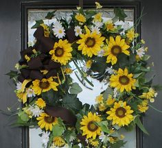 Sunflower and Daisy wreath I made for Bridal shower