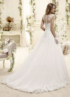 Ball-Gown Scoop Neck Chapel Train Tulle Lace Wedding Dress With Beading Sequins (00205003306) - vbridal