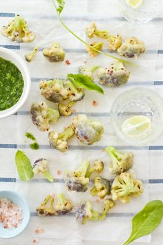 Sips and Spoonfuls: Purple Cauliflower Fritters with Garlic and Coriander Dressing