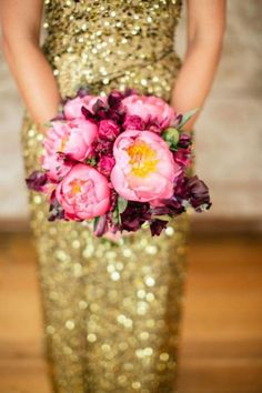 Smith and Rose Glittering Gold Sequin Wedding Dress   Tori and Sal Photography   See More! https://heyweddinglady.com/the-ultimate-guide-to-sparkling-metallic-dresses-for-your-wedding/
