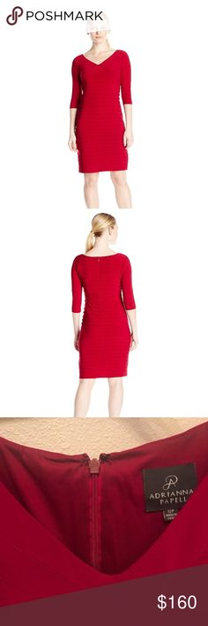 Adrianna Papell Asymmetric Seamed Banding Dress Classic Adrianna Papell dress- never been worn with tags still attached! Size 12 P in classic red color. Flattering and fun! Adrianna Papell Dresses