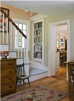 traditional staircase by Smith & Vansant Architects PC Built-in Bookcase Restored Farmhouse, Traditional Staircase, Style At Home, Built In Bookcase, Small Bookcase, Staircase Design, Staircase Bookshelf, Bookshelf Design, Small Staircase