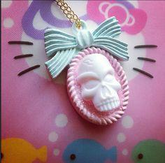 Skull necklace pendant cameo pastel goth glitter by KagomeCharm, $8.00