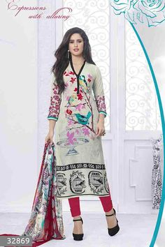White,Red & MultiColor Lawn Cotton UnStitched Straight Suit With Chiffon Dupatta