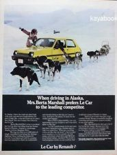 1979 Ad Le Car by Renault When driving Alaska Dog Sled