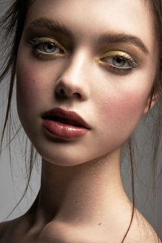 Ksenia with luminous makeup by Dominique Samuel, hair stylist Bradley Irion