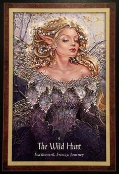 The Wild Hunt, from The Faery Forest Oracle Card deck, by Lucy Cavendish, artwork by Maxine Gadd