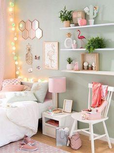 DIY Projekt Dekoration Schlafzimmer Mädchen Flamingo Malerei in Weiß und Pastellrosa Decoración casa