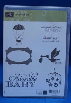 Stampin' Up Sweetest Gift  New Baby Stork Thank You  Set of 7 Stamps NIB #stampinup