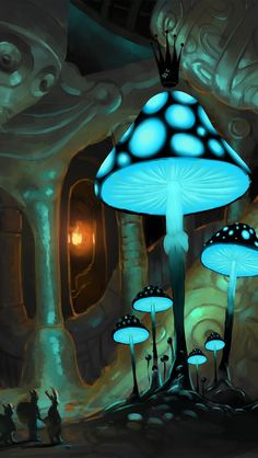 Theme: Glow in the Dark Prompt: Create a Hidden World with a surprise element Fantasy Art Landscapes, Fantasy Landscape, Fantasy Artwork, Landscape Art, Fantasy Places, Fantasy World, Mushroom Art, Psychedelic Art, Animes Wallpapers