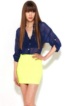 Pair Neon Banded Skirt with Sheer Open Batwing Chiffon Button Up... have the shirt, now i just need the skirt!