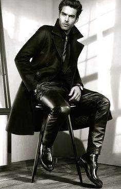 men's leather jeans / trousers / pants