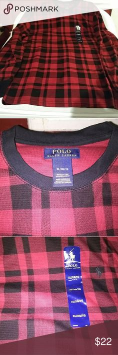 cdd947aa6b3 Polo Ralph Laurn Waffle Knit Thermal Shirt Men s polo Ralph Lauren red and  black long sleeve