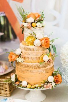 Dreaming of Summer With Citrus Wedding Cakes ~ French Made Cakes' Orange Semi Naked Cake adorned with oranges, flowers and meringues. You are in the right place about traditional wedding cakes 2 tier Wedding Cake Flavors, Fall Wedding Cakes, Unique Wedding Cakes, Wedding Cake Designs, Wedding Cake Toppers, Lemon Wedding Cakes, Rustic Wedding, Naked Cake Tropical, Orange Wedding Themes