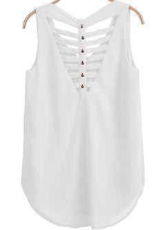 White V Neck Sleeveless Hollow Bead Vest pictures