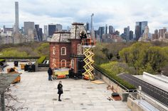 "April 16, 2016 CAITLIN OCHS FOR THE NEW YORK TIMES A View Hitchcock Could Love A Cornelia Parker installation inspired by the house in ""Psycho"" has been erected atop the Metropolitan Museum of Art. Page C1."