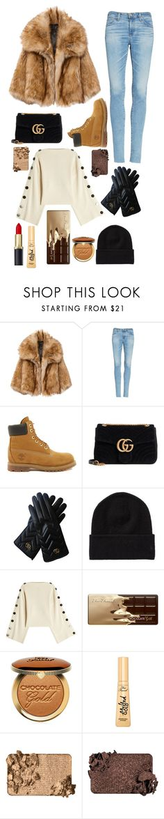 """""""Go shooting in a snow New York"""" by benedetta-ii ❤ liked on Polyvore featuring AG Adriano Goldschmied, Timberland, Gucci, Petar Petrov and Too Faced Cosmetics"""
