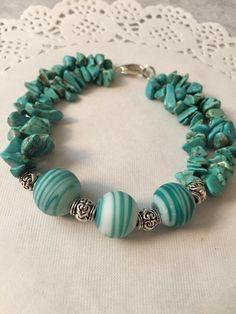 Items similar to Turquoise Bracelet Gift for Her, Summer Jewelry, Coastal Bracelet, Turquoise Beaded Bracelet on Etsy Gemstone Bracelets, Handmade Bracelets, Silver Bracelets, Ankle Bracelets, Wire Wrapped Jewelry, Wire Jewelry, Jewelery, Beach Jewelry, Sea Glass Jewelry
