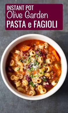 Instant Pot Olive Garden Pasta e Fagioli - Cook Fast, Eat WellYou can find Best instant pot and more on our website.Instant Pot Olive Garden Pasta e Fagioli - Cook Fast, Eat. Pasta E Fagioli, Pasta Fagioli Crockpot, Pasta Fagoli Soup, Pasta Soup, Taco Soup, Diet Food To Lose Weight, Weight Loss Meals, Pasta Recipes, Crockpot Recipes