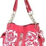 This is a Beautiful Hot pink and white damask Rhinestone Satchel Bag