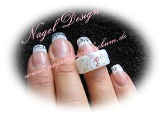 White wedding nails with airbrush technic