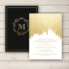 Gold Foil Invite, 60th Birthday Invitation, Black and Gold Invitation, Adult Birthday Invitation, DIGITAL YOU PRINT by WhitetailDesigns on Etsy https://www.etsy.com/listing/223432932/gold-foil-invite-60th-birthday