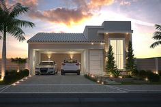 Planta de casa com fachada de tijolinho Sims House Design, Modern House Design, Villa, Narrow House Designs, Small Modern Home, Storey Homes, Facade House, Simple House, Building A House
