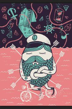 The Captain´s Dream Art Print by Alejandro Giraldo Illustration Art Drawing, Heart Illustration, Mascot Design, Nautical Art, Dream Art, Painting Inspiration, Cute Drawings, Sketches, Art Prints