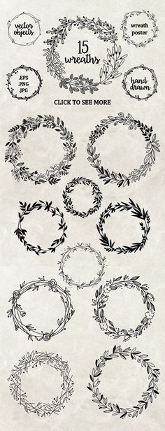 Perfect wreaths for doodling! Try these bullet journal and planner doodles today. Embroidery Designs, Hand Embroidery, Machine Embroidery, Creative Embroidery, Flower Embroidery, Embroidery Tattoo, Wedding Embroidery, Geometric Embroidery, Floral Embroidery Patterns